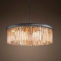 Loft Retro Crystal Chandelier Light for dining room led round lamp crystal K9 E14 pendant Lamp Lighting ZDD0067