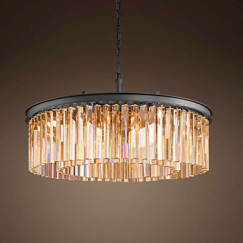 Loft Retro Crystal Chandelier Light for dining room led round lamp crystal K9 E14 pendant Lamp Lighting ZDD0067 m best price 55cm nordic minimalist crystal lamp drops e14 led lamp lighting american retro aisle dining room iron chandelier