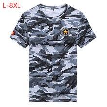 M-8XL homens camuflagem fina camiseta verão tamanho grande masculino casual secagem rápida solta alta elástica militar de fitness baggy topo tees cf201
