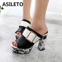 ASILETO Women sandals heels Platform Mules Summer shoes woman Buckle square heel fish sandals printed buckle sandalias mujer633