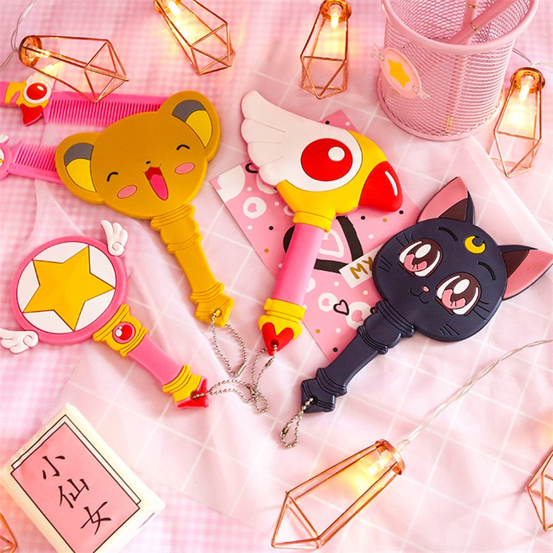 Costume Props Generous Anime Sailor Moon Luna Card Captor Wand Girls Cat Make Up Mirror Handle Cosplay Structural Disabilities