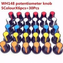 30 шт. 5 цветов WH148 Ручка потенциометра(медный сердечник) 15X17 мм 6 мм отверстие вала AG2 Желтый Оранжевый Синий Белый Красный 5 цветов* 6 шт. = 30 шт