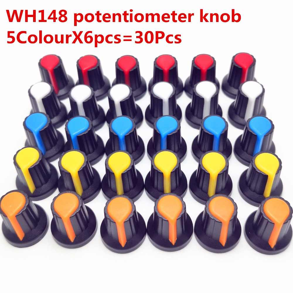 30pcs 5color WH148 potentiometer knob cap(copper core) 15X17mm 6mm Shaft Hole AG2 Yellow Orange Blue White Red 5color*6PCS=30PCS