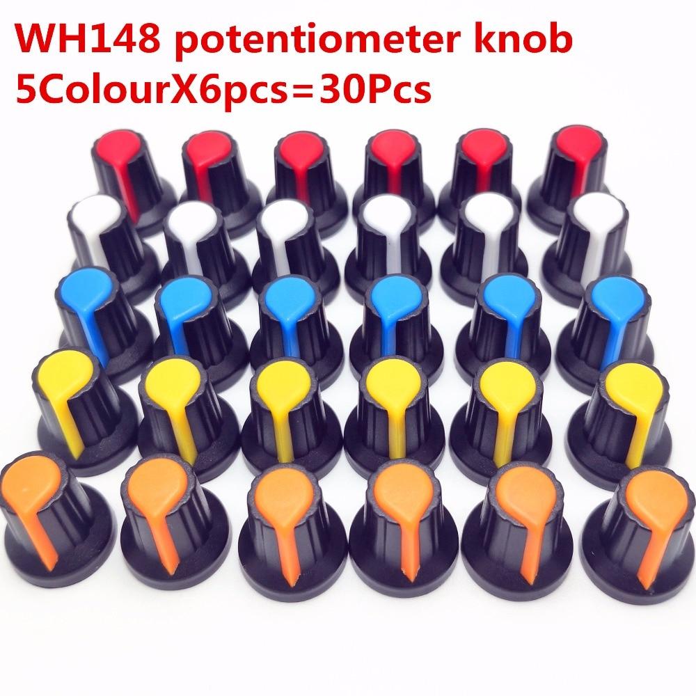Рукоятка потенциометра WH148 30 шт., крышка (медный сердечник), 15 х17 мм, 6 мм, отверстие вала AG2, желтая, оранжевая, синяя, белая, красная, Φ * 6 шт. = 30 ш...