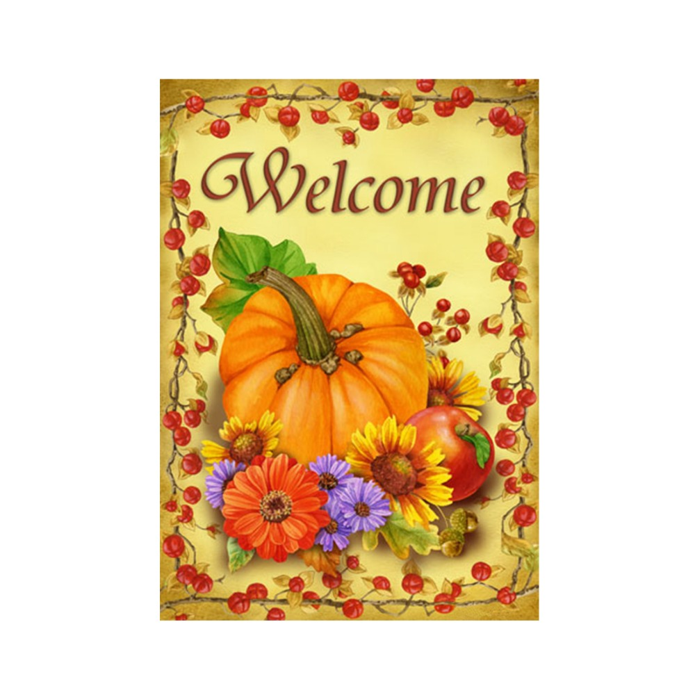 welcome fall autumn decorative outdoor and indoor flags 100 polyester pumpkins garden flags banner home yard banners