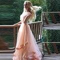Dulce de Color Melocotón Con Cuentas 2 unidades de Noche Vestidos Sexy Ruffles Organza Largo Vestidos de Noche Tanque Verano Mujer Formal Drses