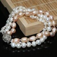 Naranja perla de agua dulce blanca Natural Irregular perlas preciosas Collar que hacía diy 3 filas multicolor de alta calidad 8 pulgadas G006