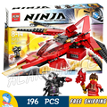 196pcs Bela Ninja 10219 Kai Fighter General Cryptor white flame Warrior Building Blocks Compatible With Lego
