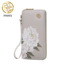 Pmsix 2017 New Chinese style Leather long wallet women cowskin split leather purse light pink P420042