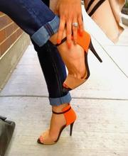 Rome Orange Suede Ankle Strap Shoes Peep Toe Cut-out Gladiator Heels Ladies Party Sandals Stretch Patchwork Women Pumps