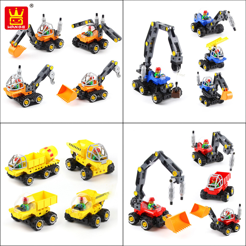wange blocks Educational Bricks Toys Building Blocks Tech Machines Excavator 5 in 1 Creative Bricks Toys for Child Educational 8 in 1 military ship building blocks toys for boys