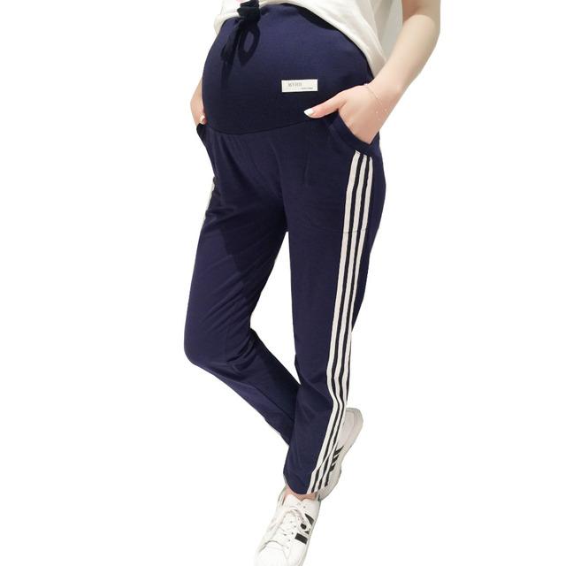 Mujeres maternidad embarazo algodón pantalones de las polainas de embarazo correa de soporte deportes pantalones pantalones casuales ropa de maternidad
