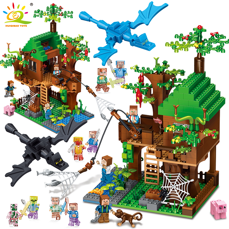 443pcs Island Forest House Model Building Blocks Compatible Legoed Minecrafted city DIY dragon Figures brick toys for children