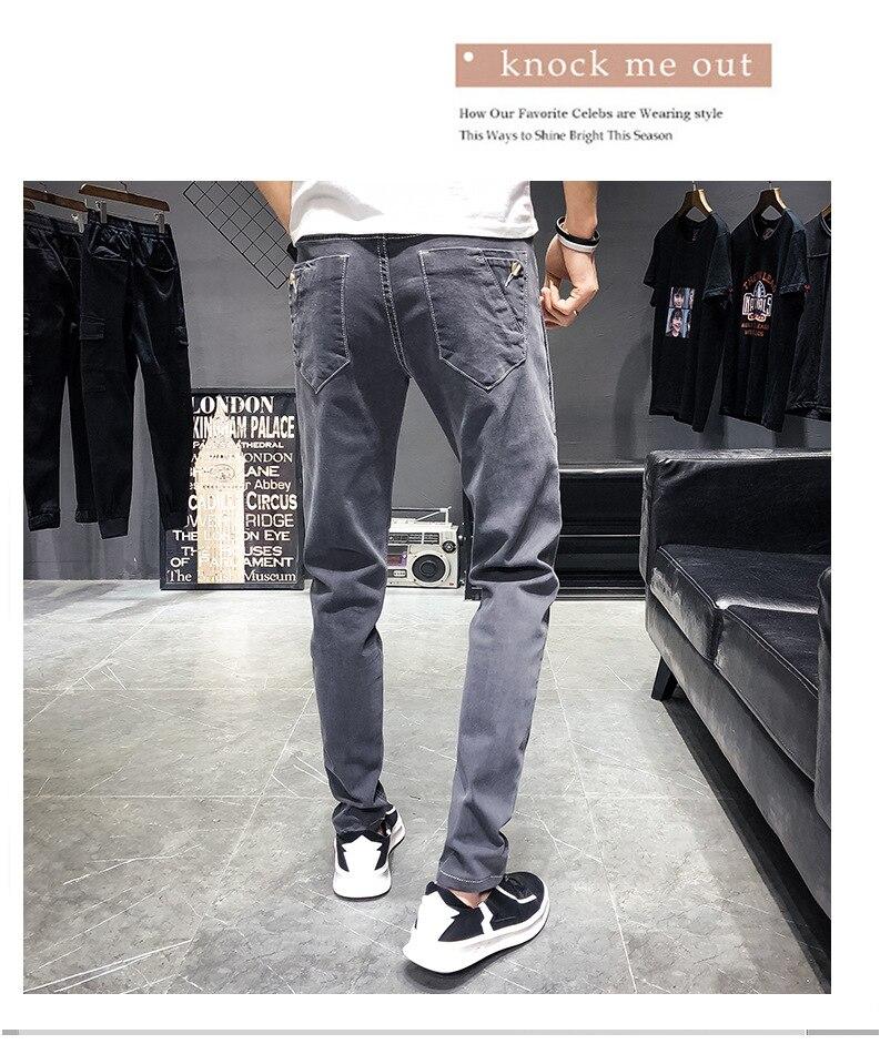 KSTUN Mens Jeans 2019 Fashion Buttons Designer Gray Supper Skinny Stretchy Denim Joggers Biker Moto