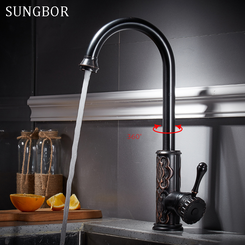 Deck Mount Bathroom Kitchen Faucet Single Handle 360 Rotate Basin Sink Mixer Taps Black Hot and Cold Water Mixers CF-9151H goose neck bathroom kitchen faucet 360 rotation single handle kitchen mixer taps with hot and cold water black deck mounted