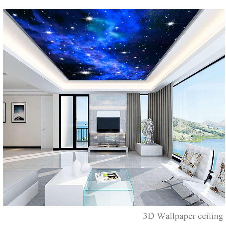 Custom photo 3D Star wallpapers KTV Hotels ceiling dream living room bedroom ceiling bright stars wall mural wall paper painting 3d large custom wallpapers mural ceiling zenith high quality european painting hotel bar ktv clubs ceiling floor wall paper