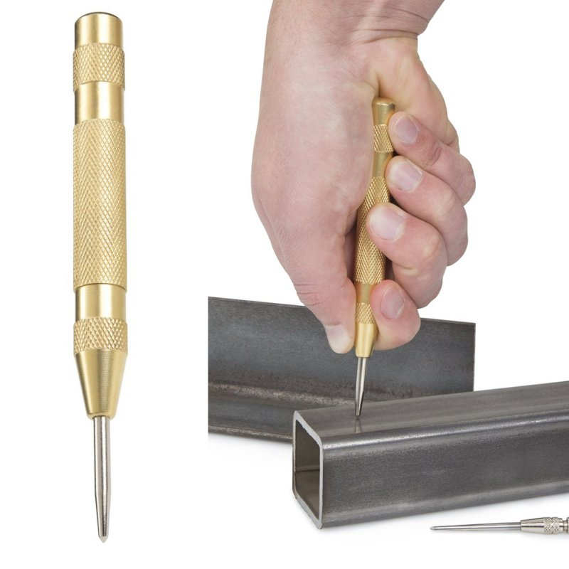 New Hot 5 Inch Automatic Center Drill Bit Pin Punch Spring Loaded Marking Starting Holes Tools  5 inch automatic center pin punch spring loaded marking starting holes tool woodworking herramientas center drill bit tools