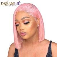Розовый цвет Синтетические волосы на кружеве парик прямо натуральные волосы парики 180% Плотность Remy натуральные волосы тупой сократить бра