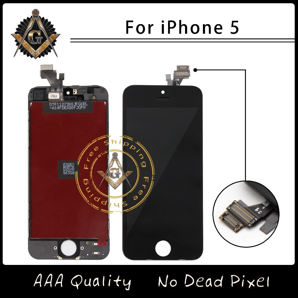 Prix pour 10 pcs/lote marque nouvel écran LCD affichage tactile Digitizer assemblée Fit pour iPhone 5 5 G pas de Dead Pixel livraison gratuite DHL