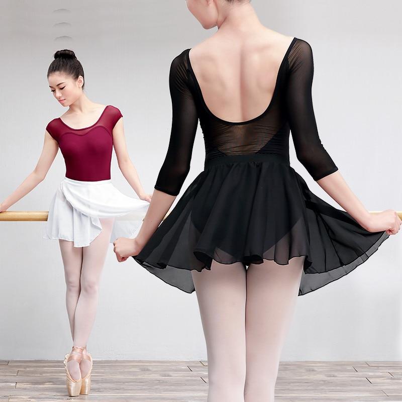 Adult Womens Lady Chiffon Ice Skating Ballet Leotard Skirt Dance Dress Costume