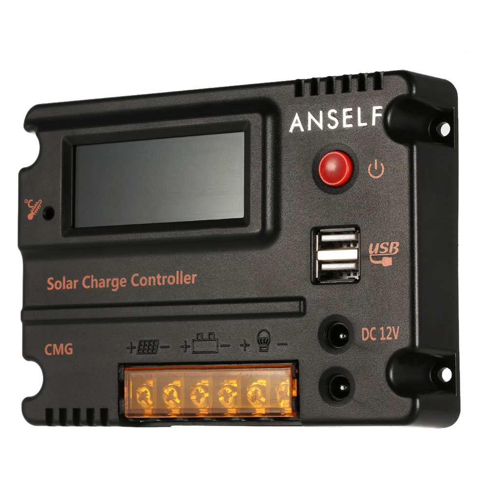 Anself 20a 12v 24v lcd controlador de