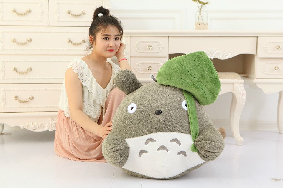 huge plush Totoro toy Lotus lovely leaf totoro doll classic expression totoro doll gift about 70cm free shipping about 60cm cartoon totoro plush toy dark grey totoro doll throw pillow christmas gift w4704