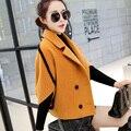 2017 Primavera e No inverno nova jaqueta de lã feminino curto parágrafo trespassado revesti-la Coreano solto casaco de lã fina