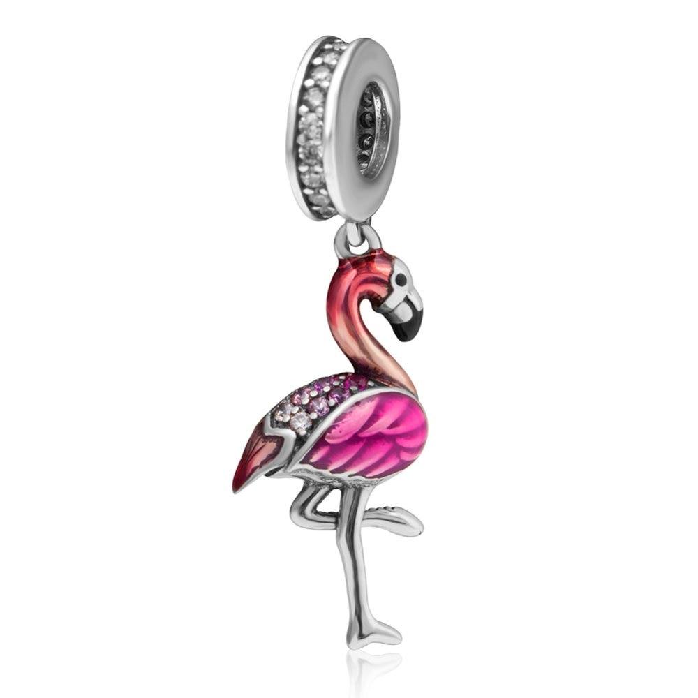 Authentic 925 Sterling Silver Enamel Flamingo Charms Pendnat DIY Beads Fine Jewelry Fit Pandora bracelets