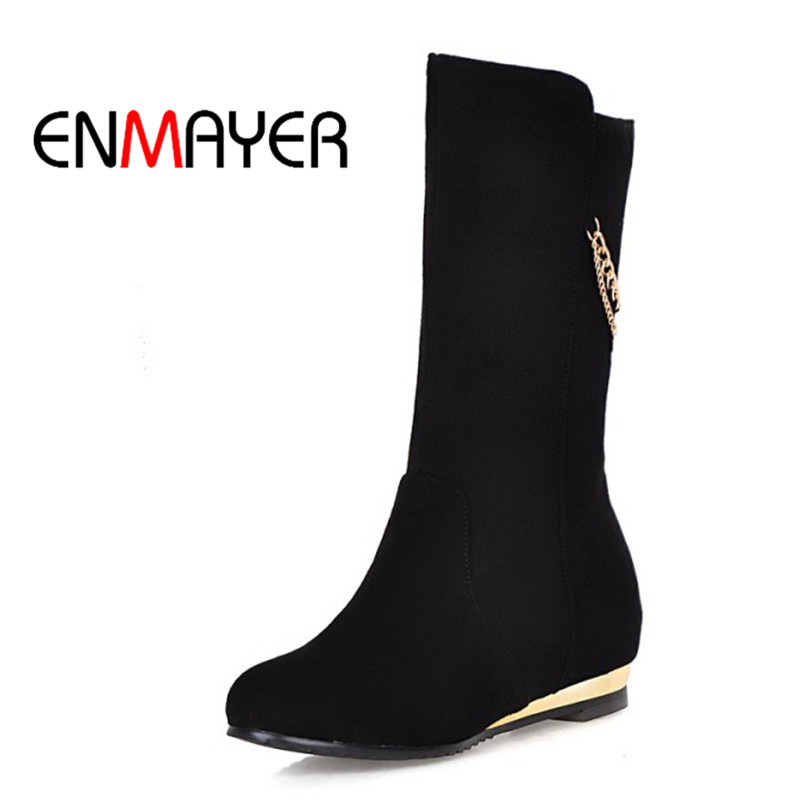 ENMAYER Women Fashion Mid Calf Winter Boots Height Increasing High Heel Square Heel Shoes Woman Black
