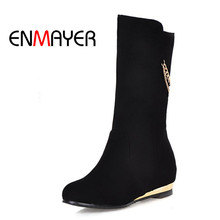 ENMAYER Women Fashion Mid-Calf Winter Boots Height Increasing High Heel Square Heel Shoes Woman Black Red Slip-on Woman Boots new fashion autumn winter mid calf boots for women height increasing wedges shoes beige black boots white pearls beaded boots