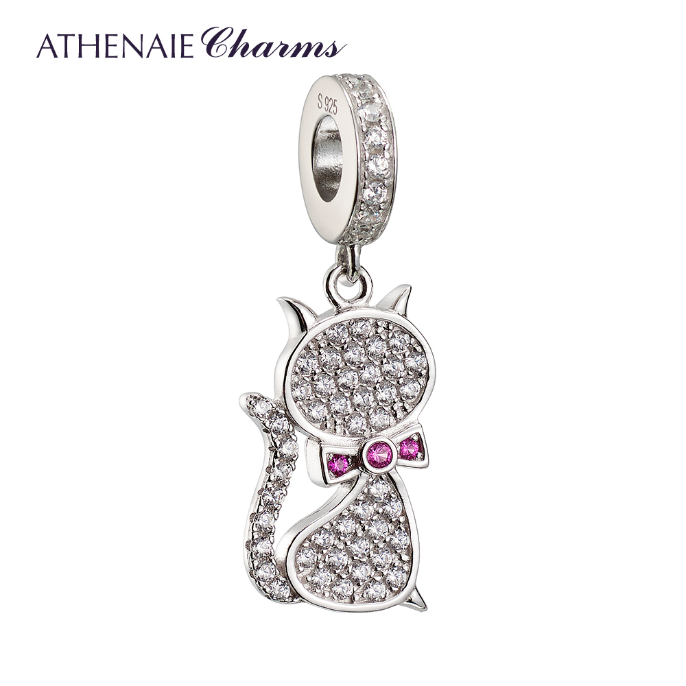 ATHENAIE Genuine 925 Silver with Pave Clear CZ Miss Kitty Pendant Drops Charms Fit All European Bracelets