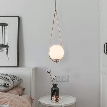 Modern Bedside LED Pendant Lights Gold Body Glass Ball Hanglamp Indoor Lighting For Bedroom Living room Dining Room Nordic Lamp