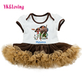 Princess Style dress for girls New Movies Moana Brown Color Khaki Ruffles Tutu Cartoon Cotton beauty 1 year birthday dress Set