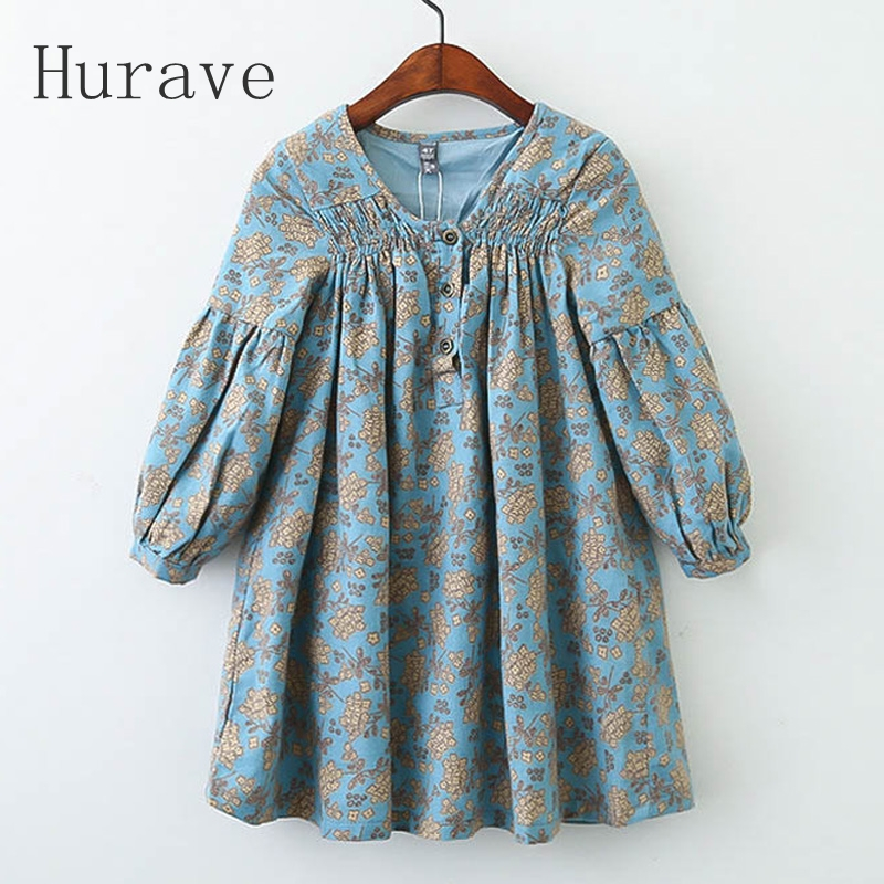 Hurave Kids Dress 2018 New Brand Autumn Girl Dress Toddler Printing Children Clothing Long Sleeve Flroal Girls Vestidos C21L4 hurave new arrival girls tassel sweater children fashion kids clothing brand england style toddler clothes