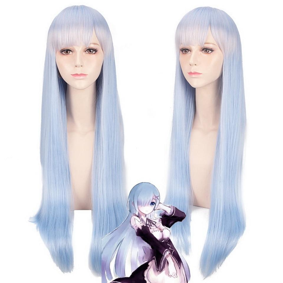 Аниме Rem ОЗУ длинные прямые Косплэй парик розовый синий синтетический волос Для женщин Re: жизнь в другом мире от нуля 80 см