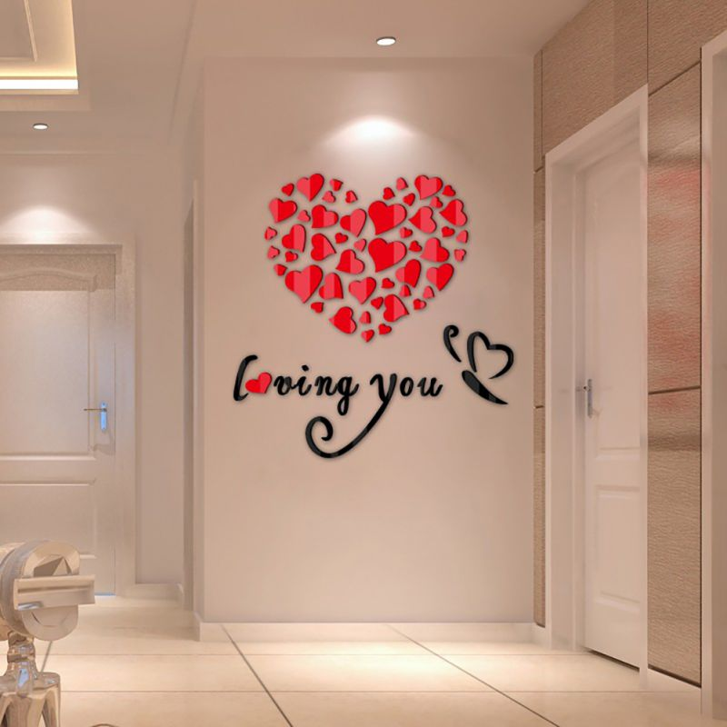 Lovely Mirror Hearts Home 3d Wall Stickers Decor Diy Decal