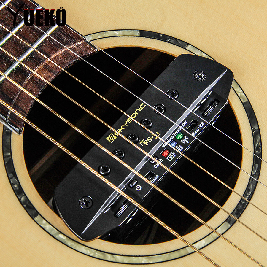 YUEKO SKYSONIC FS-1 Wireless Dual Channel Guitar Pickup Guitar Accessories yueko skysonic t 902 magnetic soundhole pickup guitar active dual systems pickup acoustic guitar accessories