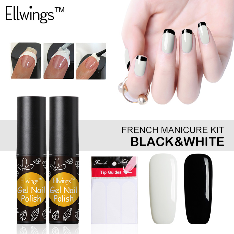 Ellwings 2pcs Black White Nail Gel Polish UV Gel Varnish French Nail ...