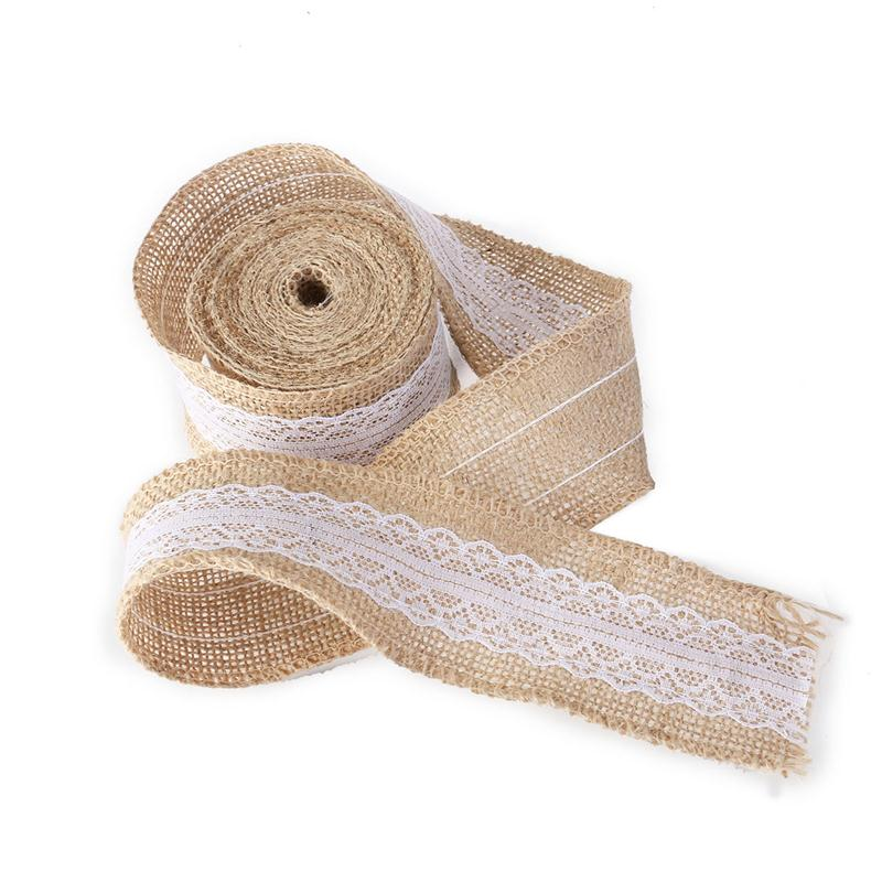 5m 5cm Natural Jute Burlap Rolls Lace Ribbon For Diy Crafts Home Country Rustic Party
