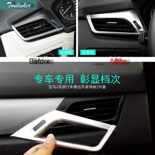 Tonlinker 2 PCS Car DIY ABS Chrome Front Air Conditioning Vent Light Box Cover Case Sticker for Bmw 2 Series 2014  Accessories