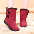 2016 otoño invierno casual botas de nieve impermeables botas de tobillo de mujer zapatos antideslizantes planas térmicas de invierno de la moda botas de mujer