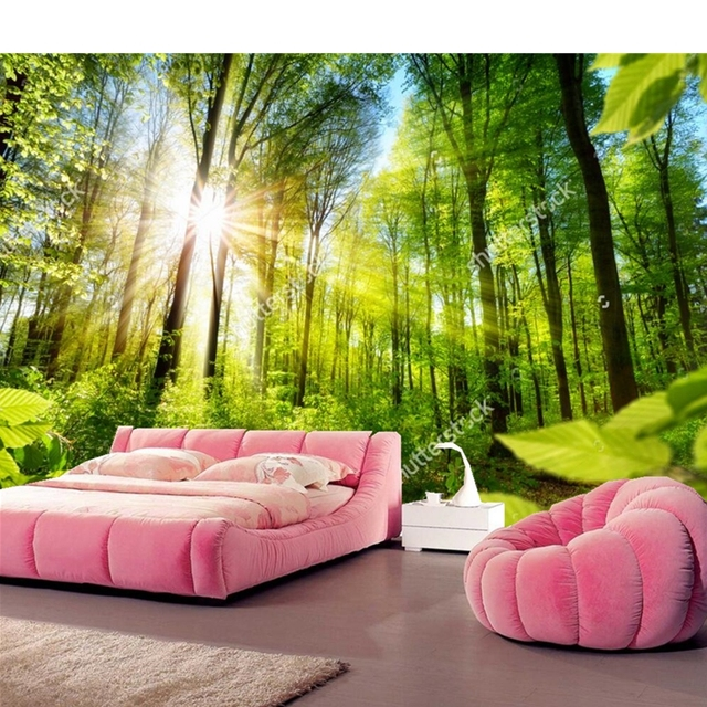 Custom Natural Scenery WallpaperFloresta Sunlit3D Photo Mural For Living Room Dining Sofa