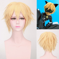 Miraculous Ladybug Cat Noir Adrien Cosplay Wig Anime Costume Party Wig Unisex Synthetic Hair Short Straight