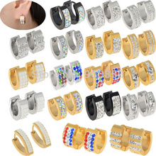 Fashion Unisex Stainless Steel Stud Hoop Huggie Earrings Crystal Cubic Pearl Silver Gold Platinum Plated