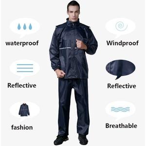 Image 5 - Thick double raincoat split suit cross border direct rain pants adult reflective bicycle electric motorcycle riding waterproof