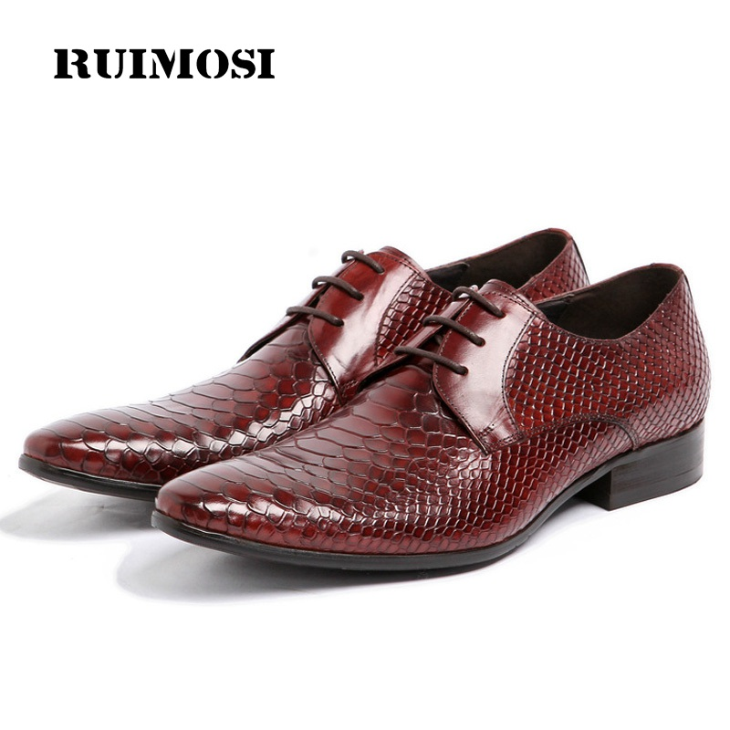 RUIMOSI British Designer Man Bridal Dress Shoes Genuine Leather Crocodile Wedding Oxfords Pointed Toe Derby Men's Flats BH22