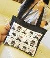 Saco de lona bolsa de ombro saco de compras saco de estudante do sexo feminino