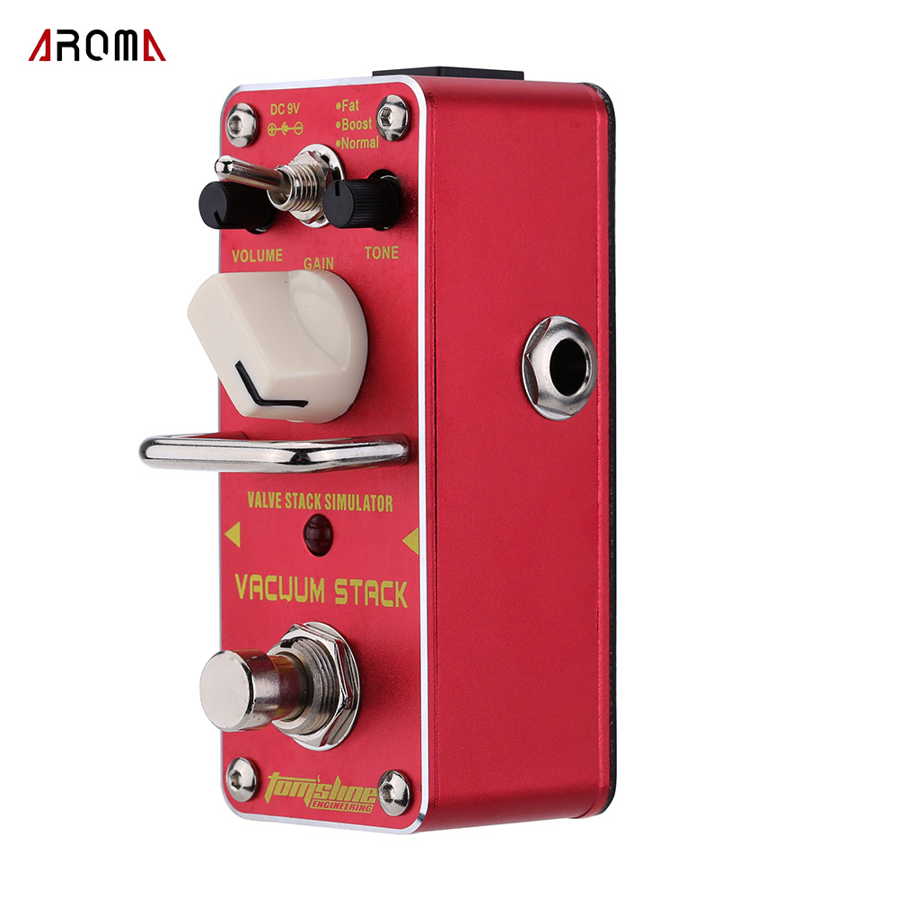 AROMA Tomsline AVS-3 Vacuum Stack Simulator Electric Guitar Effect Pedal Mini Single Effect With True Bypass aroma ac stage acoustic guitar simulator effect pedal aas 3 high sensitive durable top knob volume knob true bypass metal shell