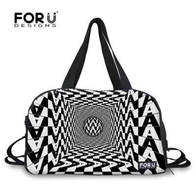 FORUDESIGNS Striped Women Travel Bag Portable Canvas Travel Duffle Large Capacity Female Weekend Bag Luggage Tote With Strap