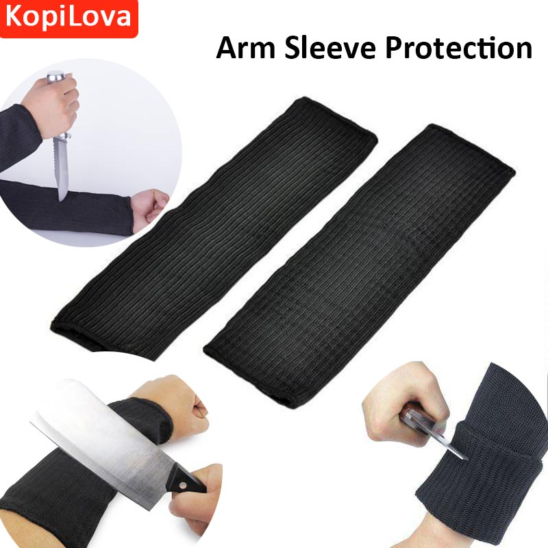 KopiLova 10pairs Steel Wire Black Arm Sleeve Protection Anti cutting Stab Resistant Armband Sleeve Work Safety